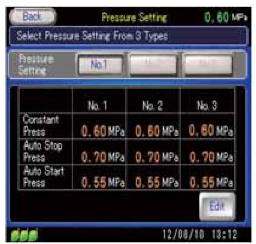 Máy nén khí Kobelco cài đặt 3 chế độ áp lực